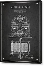 Nikola Tesla Electro Magnetic Motor Patent Drawing From 1888 - D Acrylic Print by Aged Pixel