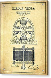 Nikola Tesla Electro Magnetic Motor Patent Drawing From 1888 - V Acrylic Print by Aged Pixel