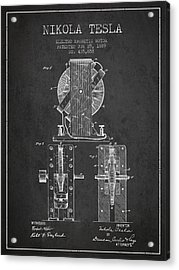 Nikola Tesla Electro Magnetic Motor Patent Drawing From 1889 - D Acrylic Print by Aged Pixel