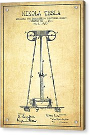 Nikola Tesla Energy Apparatus Patent Drawing From 1914 - Vintage Acrylic Print by Aged Pixel