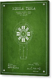 Nikola Tesla Patent Drawing From 1889 - Green Acrylic Print by Aged Pixel