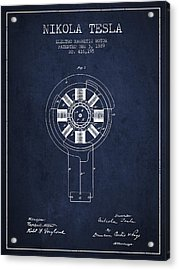 Nikola Tesla Patent Drawing From 1889 - Navy Blue Acrylic Print by Aged Pixel