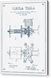 Nikola Tesla Regulator Patent Drawing From 1886- Blue Ink Acrylic Print by Aged Pixel