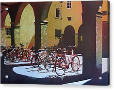 Nine Bicycles Acrylic Print by Kris Parins