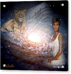 Acrylic Print featuring the digital art Nippy The Graceful Lioness - Tribute Art By Giada Rossi by Giada Rossi