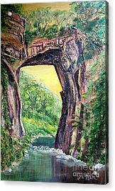 Acrylic Print featuring the painting Nixon's Glorious View Of Natural Bridge by Lee Nixon