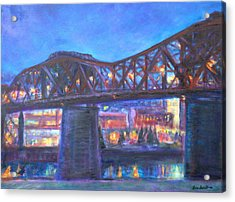 City At Night Downtown Evening Scene Original Contemporary Painting For Sale Acrylic Print