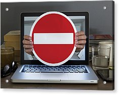 No Entry Sign Appearing Out Of Laptop Computer Acrylic Print by Dimitri Otis