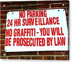 No Graffiti Acrylic Print by Ed Weidman