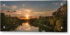 Mississippi Sunset Double Starburst Acrylic Print