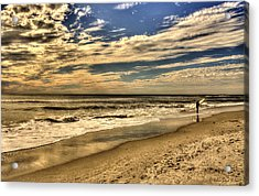 Acrylic Print featuring the photograph No More Surfing Today by Julis Simo