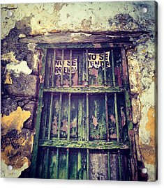 No Se Vende Sign On Very Old Window Acrylic Print