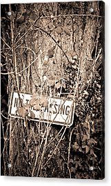 Acrylic Print featuring the photograph No Trespassing by Erin Kohlenberg