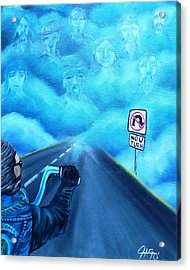 Acrylic Print featuring the painting No U Turn In Blue by The GYPSY And DEBBIE