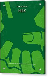 No040 My Hulk Minimal Movie Poster Acrylic Print by Chungkong Art