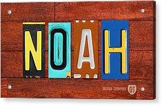 Noah License Plate Name Sign Fun Kid Room Decor. Acrylic Print by Design Turnpike