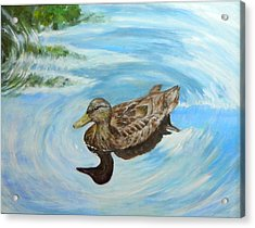 Acrylic Print featuring the painting Noah's Duck by Sandra Nardone