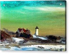 Nobska Lighhouse In Winter Acrylic Print