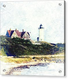 Nobska Lighthouse Cape Cod Massachusetts Retro Style Acrylic Print