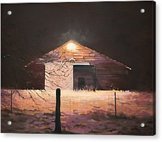 Acrylic Print featuring the painting Nocturnal Barn by Rebecca Matthews