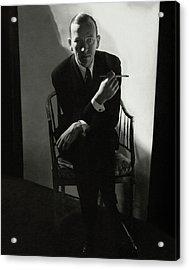 Noel Coward Smoking Acrylic Print by Edward Steichen