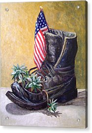 Acrylic Print featuring the painting Non-combat Boot by Laura Aceto