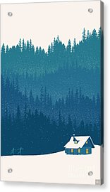 Acrylic Print featuring the painting Nordic Ski Scene by Sassan Filsoof
