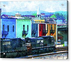 Norfolk Southern 8324 And 8676 Locomotives Acrylic Print by Susan Savad