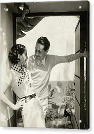 Norma Shearer And Irving Thalberg In A Garden Acrylic Print by Edward Steichen