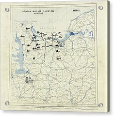 Normandy Campaign Map Acrylic Print by Library Of Congress, Geography And Map Division