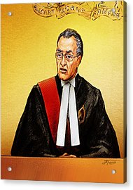 Nortel Verdict - Mr. Justice Marrocco Reads Non-guilty Ruling Acrylic Print by Alex Tavshunsky