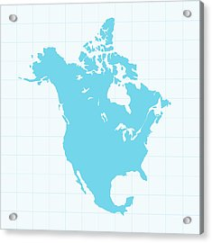 North America Map On Grid On Blue Acrylic Print by Iconeer