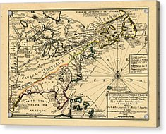 North America, United States, New York, Canada, Pennsylvania, Virginia, North Carolina, 1702 Acrylic Print by Historic Map Works LLC and Osher Map Library