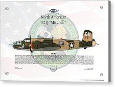 North American B-25j Mitchell Yellow Rose Acrylic Print by Arthur Eggers