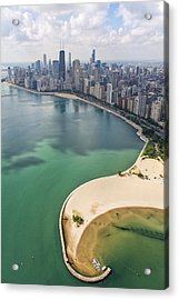 North Avenue Beach Chicago Aerial Acrylic Print by Adam Romanowicz