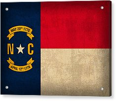 North Carolina State Flag Art On Worn Canvas Acrylic Print by Design Turnpike
