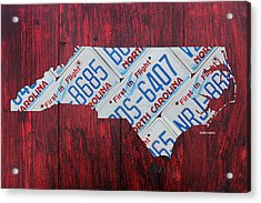 North Carolina State License Plate Map Art Acrylic Print by Design Turnpike