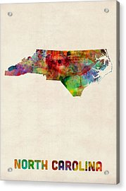 North Carolina Watercolor Map Acrylic Print by Michael Tompsett