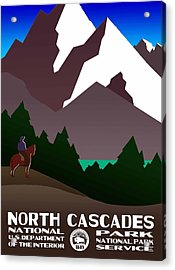 North Cascades National Park Vintage Poster Acrylic Print by Eric Glaser