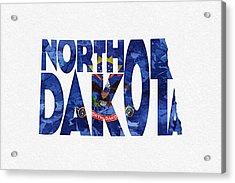 North Dakota Typographic Map Flag Acrylic Print