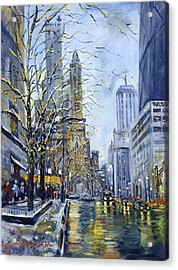 North Michigan Avenue Acrylic Print by Alexandra Maria Ethlyn Cheshire