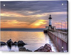 North Pier Morning Acrylic Print by Bryan Benson