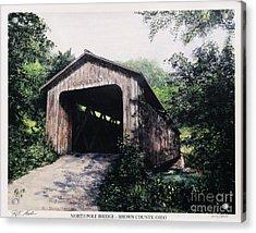 North Pole Covered Bridge Brown County Ohio Acrylic Print by Rita Miller