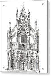 North Portal Cologne Cathedral Germany Acrylic Print by John Simlett