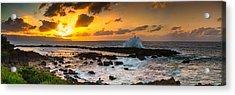 North Shore Sunset Crashing Wave Acrylic Print