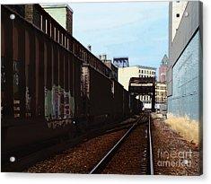 Northbound Freight To Milwaukee Acrylic Print by David Blank