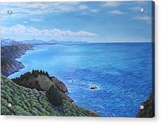 Acrylic Print featuring the painting Northern California Coastline by Penny Birch-Williams