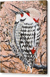 Acrylic Print featuring the painting Northern Flickers by Cathy Long