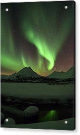 Northern Lights Over Frozen Lake Troms Acrylic Print by Sandra Schaenzer