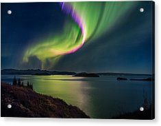 Northern Lights Over Thingvallavatn Or Acrylic Print by Panoramic Images